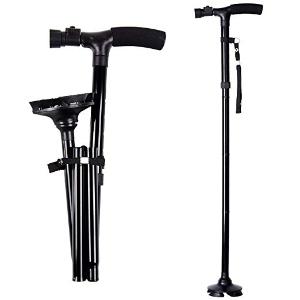 $16.99 (原价$19.99)闪购:Ohuhu 可折叠式拐杖 带LED灯 黑色