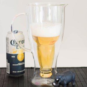 $17.48 (原价$34.95) 5折Linen Chest 双层1.25 L 啤酒杯  别致造型有新意