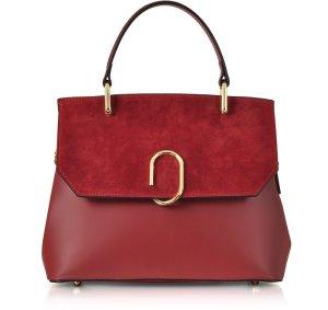 Le Parmentier 红色 Thais 麂皮和皮革桍提包