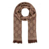 Gucci - GG Jacquard knitted 棕色围巾