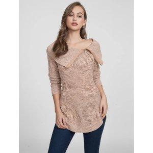 Zenna Zip-Up Tunic Sweater at Guess