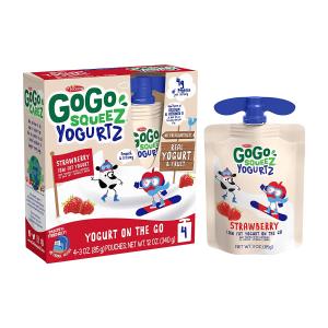 60袋装混合口味一袋仅$0.6GoGo squeeZ 低脂草莓口味酸奶,4袋装$2.79,近期好价