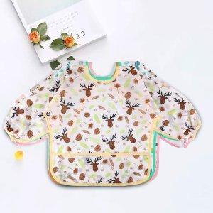 5件仅$20.39(原价$24.99)Lictin 儿童防水长袖围兜 2~5岁宝宝可用 清洗容易可调节大小