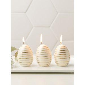 金色蛋蛋蜡烛 3个装