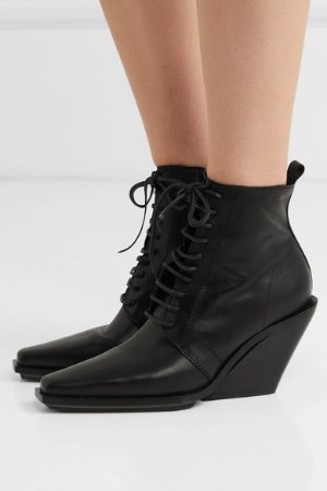 Ann Demeulemeester | Lace-up leather wedge ankle boots | NET-A-PORTER.COM