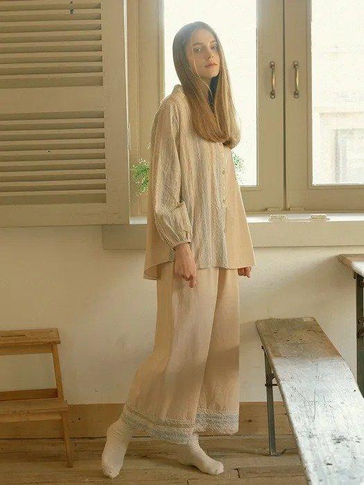 森系条纹睡衣套装