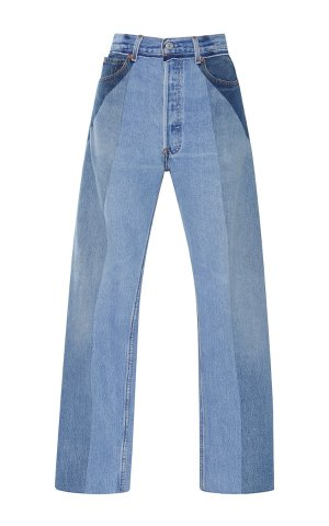 Re/Done Ultra High-Rise Straight Leg Patchwork Jeans