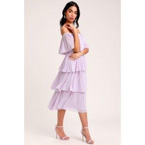 Gala Ready Lavender Off-the-Shoulder Ruffle Midi Dress