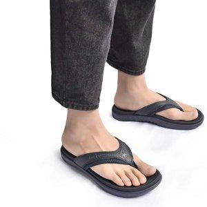 KuaiLu Mens Leather Sport Flip Flops