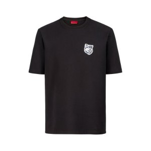 HUGO - Oversized-fit T-shirt in French terry with wolf badge