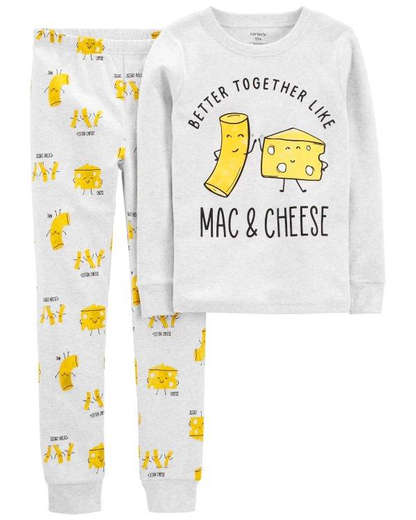 儿童乳酪意面全棉紧身睡衣套装
