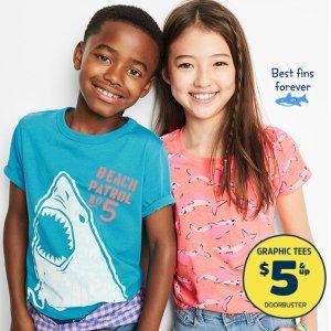 $5-$8+全场包邮+叠用Fun Cash变相6折最后一天:OshKosh 儿童T恤 Doorbuster 优惠 封面男女款都$5