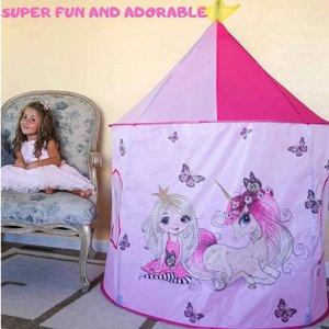 $14.99(原价$29.99)JOJOOKIDS 儿童趣味弹出式帐篷,梦幻粉色公主城堡主题