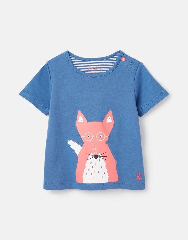 婴儿有机棉小狐狸T恤,背面也有图案
