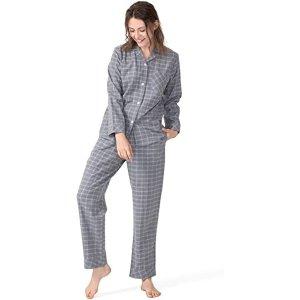 100%纯棉Femofit 纯棉格纹睡衣套装