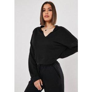 Missguided- Black Oversized V Front Sweatshirt