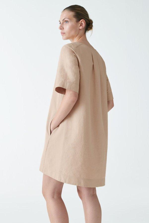 棉麻混纺A型连衣裙