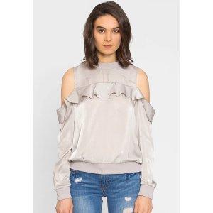 Cold Shoulder Satin Sweater Top