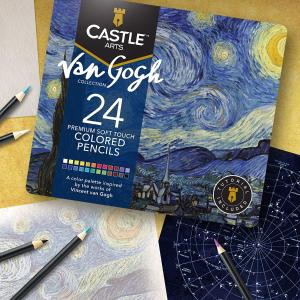 €21.99起 包含24色彩铅和绘本Castle Arts 梵高 星空 DIY彩铅画 宅家陶冶情操