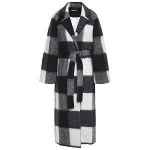 Ganni经典黑白格子浴袍大衣