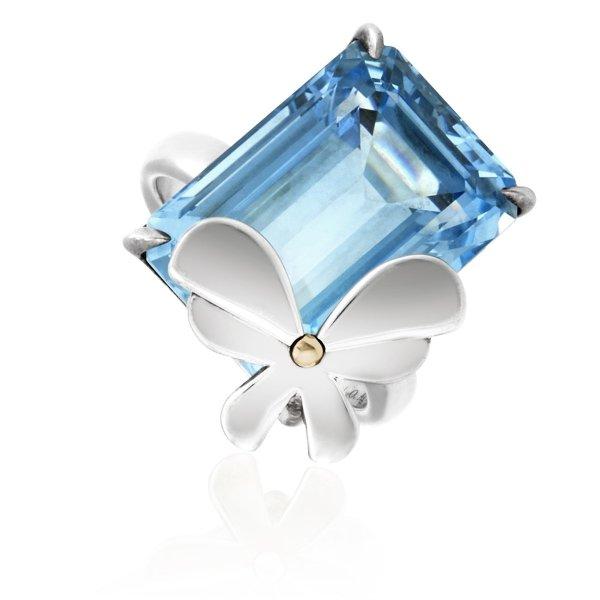 18k玫瑰金纯银蓝托帕石蝴蝶戒指
