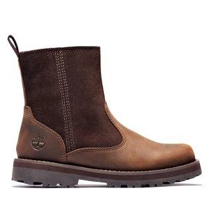 Timberland 内有加绒 防寒必备棕色短靴 大童款