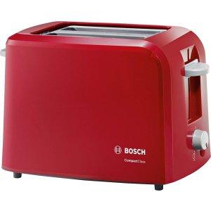 折后€28+包邮 6档热度可调节Bosch 大红色烤面包机7折 切片吐司、小圆餐包都可以烤