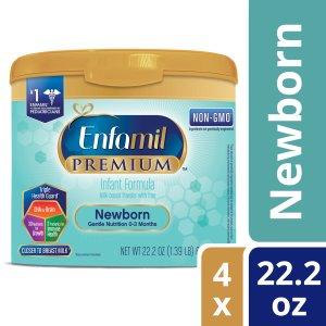 50% Off! $57.96Enfamil Newborn PREMIUM Infant Formula (4 Pack) Powder 22.2 Ounce Reusable Tub