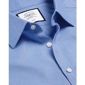 Charles TyrwhittNon-Iron Mini Herringbone Shirt - Blue