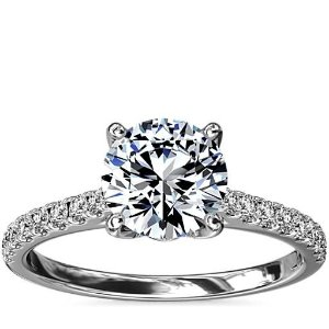 Blue Nile钻戒Diamond Basket and Pave Diamond Engagement Ring in 14k White Gold (1/3 ct. tw.) | Blue Nile