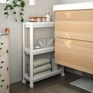 IkeaVESKEN Cart, white, 21 1/4x7 1/8x28