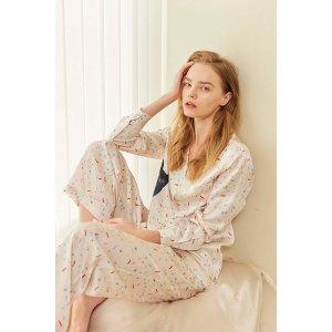 Confetti Kitty Printed Silk-Satin Pajama Set