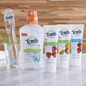 $6.95起 包邮Tom's of Maine 天然防蛀含氟儿童牙膏 4.2盎司 3支装