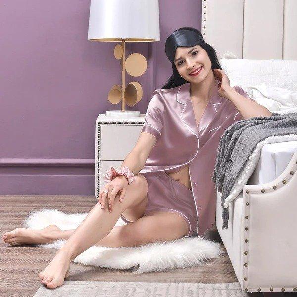 19姆米女士真丝睡衣短套装