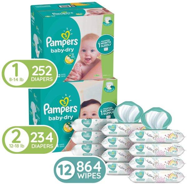 Baby Dry 尿不湿1号, 252片+ 2号234片+12袋共864抽湿巾