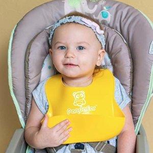 2个$9.95(原价$19.95) 美亚4.7高分好评PandaEar 宝宝超软防水硅胶围兜,2个装