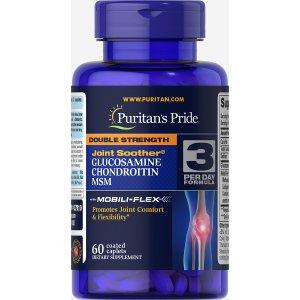 Puritan's Pride买1送2+额外8折双倍维骨力 添加MSM止疼 60粒