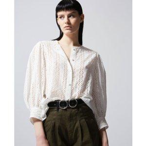 The KooplesFlowing collarless ecru lace shirt