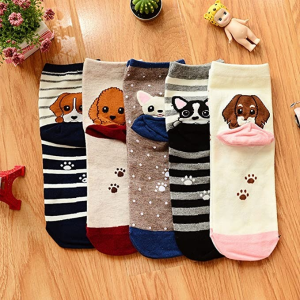 YSense 5 Pairs Womens Cute Animal Socks Dog Cat Fun Cotton Casual Crew Funny Socks