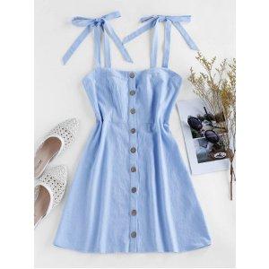 ZAFUL Button Through Tie Shoulder Mini Dress DAY SKY BLUE