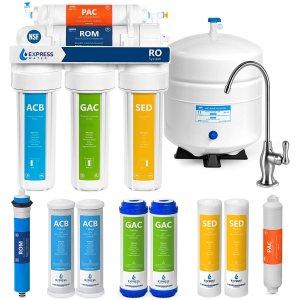 $238.78(原价$259.99)Express Water RO5DX 5级反渗透 饮用水过滤系统 送4个替换滤芯