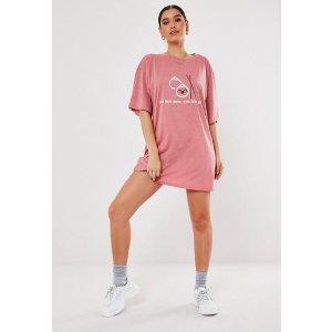 Missguided- Blush Oversized You Dim Sum Graphic T Shirt Dress