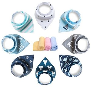 $13 YOOFOSS Baby Bandana Drool Bibs 8 Pack Set for Teething and Drooling , Extra Absorbent 100% Organic Cotton ,Soft and Absorbent Bibs for Boys Girls