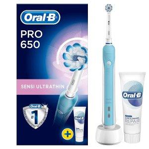 46折 现价£24.99(原价£49.99)史低价:Oral-B Pro650 电动牙刷套组 让你的笑容更自信