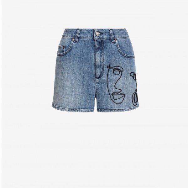 带Cornely刺绣的牛仔短裤