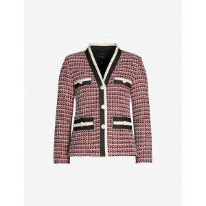 MajeContrast trim tailored tweed blazer