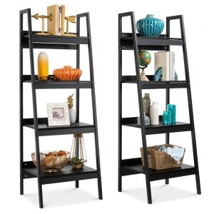 Best Choice Products Set of 2 Wooden 4-Shelf Open Ladder Bookcase Displays