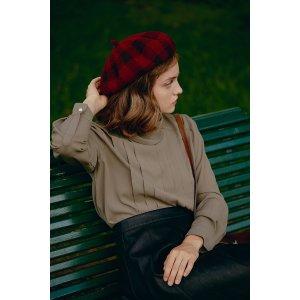 miss patina满£100享85折格纹帽子
