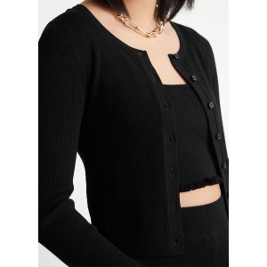 & Other StoriesFitted Cropped Rib Knit Cardigan