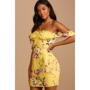 LULUSCheery Day Yellow Floral Print Off-the-Shoulder Mini Dress